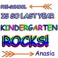 Pre-School - 8 x 10 - T Shirt Iron On - Kindergarten - Customize Name