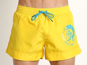 Diesel Swim Shorts Beach Wave Yellow Turquoise Mohican Head Graphic Short Sale