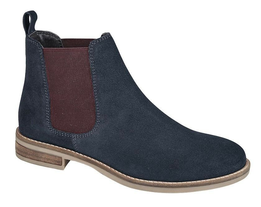 Ladies Ankle Boots Chelsea Navy Berry Suede New Casual Girls 3 4 5 6 7 8 9