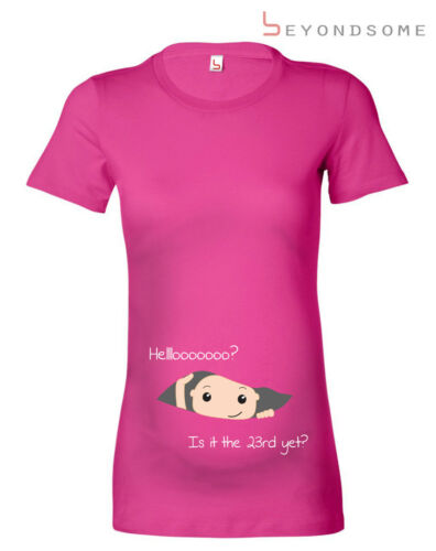 PERSONALISED MATERNITY PREGNANCY TEE T-SHIRT HELLO BABY  SHOWER GIFT PRESENT