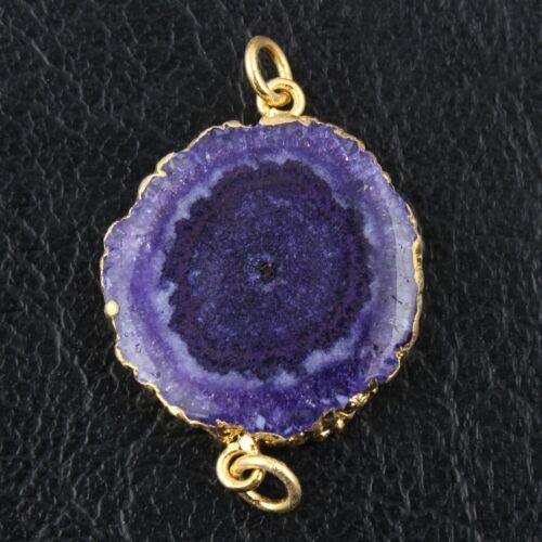 Real Blue Purple Solar Quartz 24k Gold Plated DIY Bracelets Pendants Connectors