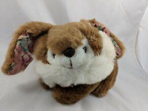 Dandee-International-Brown-White-Rabbit-Plush-Bunny-Flower-Ears-Stuffed-Animal