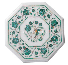 """18"""" White Marble Side Coffee Table Top Malachite Marquetry Home Decor H954A"""