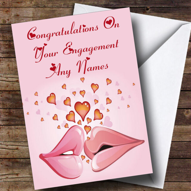 Pink lips romantic personalised engagement greetings card ebay pink lips romantic personalised engagement greetings card m4hsunfo