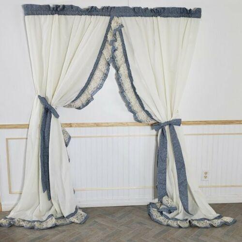 Vtg JC Penney Curtains Priscillas 94 x 85 Cream Blue Floral Bow Tie Backs 4Pcs