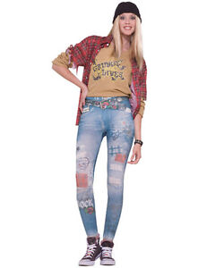 80s Rock Star Rocker Punk Women Costume Jean Leggings XS//S