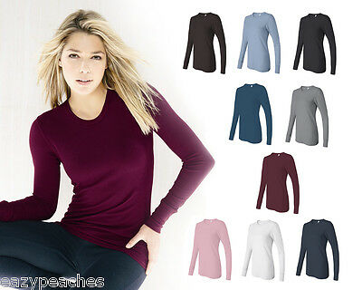 Bella Ladies Thermal Long Sleeve T-Shirt Size S-XL 2XL Irene Tee Top 8500 Womens