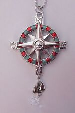 COMPASS sailboat CAR MIRROR CHARM JEWELRY REAR VIEW ornament ganz nautical er223