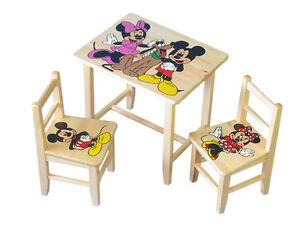 neu holz tisch mit zwei st hlen f r kinder themen 29 motive gratis ebay. Black Bedroom Furniture Sets. Home Design Ideas