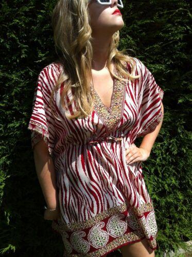 Rouge à Col V Imprimé Zèbre Femme Plage Caftan et robe à nouer à la taille Top Vendeur Britannique