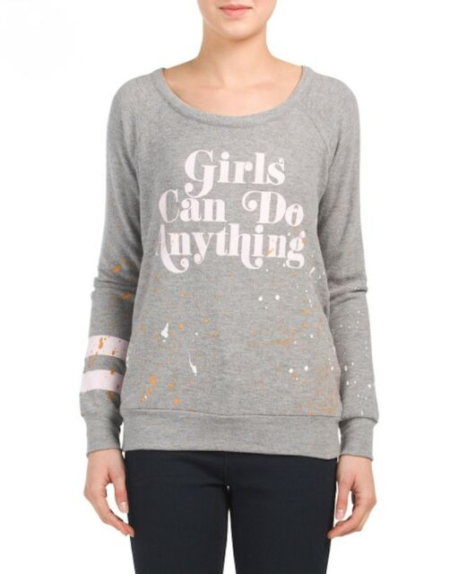 CHASER Girls Can Do Anything BACKLESS Heather Gray SWEATSHIRT Sz S M & L $128NWT