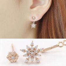 Korean Women Snowflake  Ear Stud Earrings Rhinestone Rose Golden Crystal Dangle