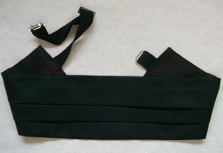 Cummerbund Mens Pleated Sash SOLID BLACK Adjustable to 38