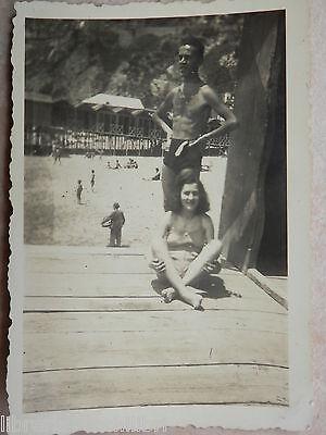 Vecchia foto d epoca fotografia antica BAGNANTI COSTUME LIDO BAIA SALERNO 1941