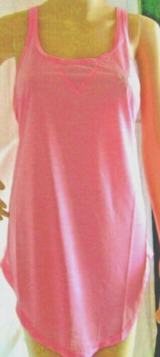 ELLE Sport Fraise Crème Semi Sheer superposition T-shirt TANKROUND col rose