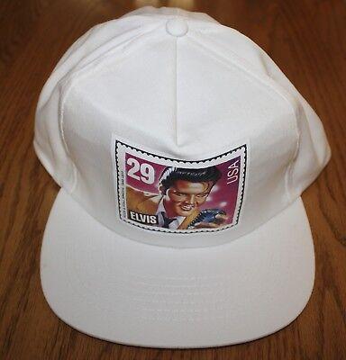 Vintage Elvis Presley White Snap Back Trucker Hat Cap Stamp $0.29 USA
