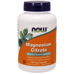 Citrato di magnesio - 120 Vcaps da Now Foods-SUPPORTO DEL SISTEMA NERVOSO MINERALI