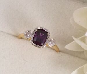 Vintage-Jewellery-Gold-Ring-Amethyst-White-Sapphires-Antique-Deco-Jewelry-sz-L