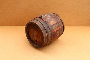 Old-Antique-Primitive-Wooden-Wood-Barrel-Keg-Vessel-Wine-Brandy-Signed-1972