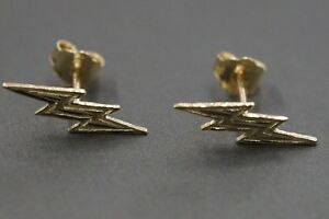 Details About 14k Solid Yellow Gold Thunder Lighting Bolt Stud Earrings 1205721