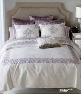 NEW-Blissliving-Home-300TC-Cotton-Daliya-Duvet-Cover-Set-Purple-White-Queen