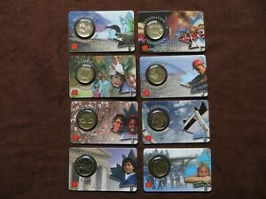 2000-RCM-Canadian-25-Cent-Quarter-Coin-Card-Lot-of-8-Differents