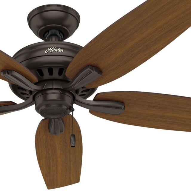 "52"" Hunter Outdoor Ceiling Fan in Premier Bronze with Five Medium Walnut Blades"
