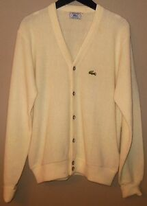 Vintage 70s IZOD LACOSTE Cream Off White Cardigan Sweater Men's ...