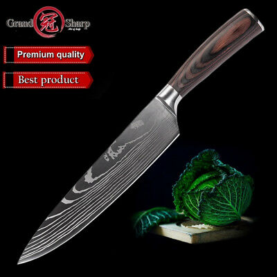 Adaptable Grandsharp 8'' Chef Kitchen Knife Laser Damascus Pattern Stainless Steel Knife Other