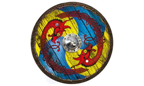 Wikingerschild Drache blau-gelb