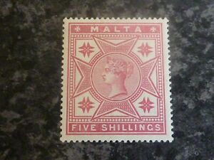 MALTA-POSTAGE-STAMP-SG30-FIVE-SHILLINGS-ROSE-1886-LIGHTLY-MOUNTED-MINT