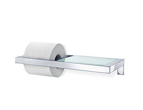 Blomus WC-Rollenhalter mit Ablage Satiniertem Glas Menoto Toilettenpapierhalter