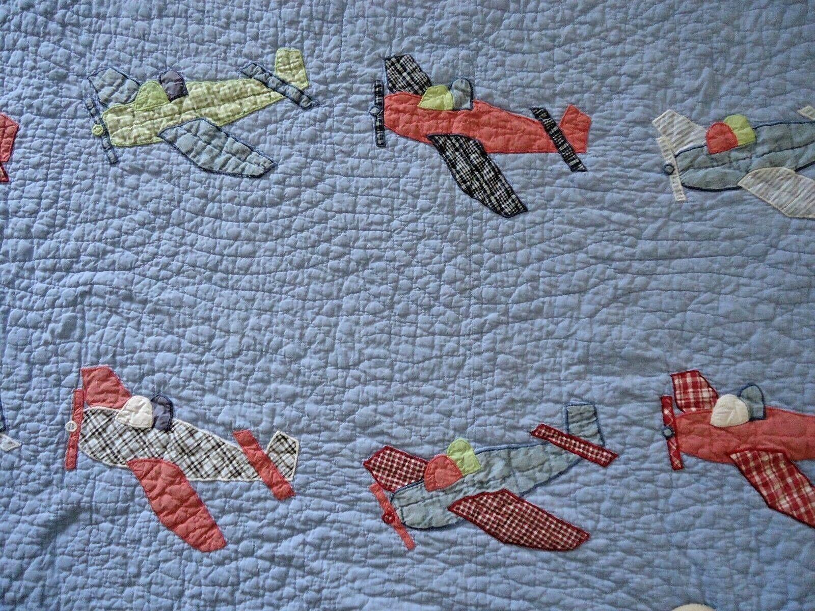 POTTERY BARN Kids Reine Couette avions et (2) Shams vintage