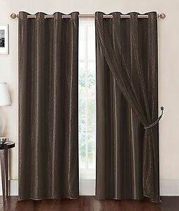 Chocolate Brown Double Layer Window Curtain Panel With
