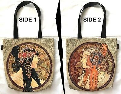 MUCHA BYZANTINE TWO SIDED BELGIAN TAPESTRY LARGE SHOPPING TOTE BAG 46CM X 46CM