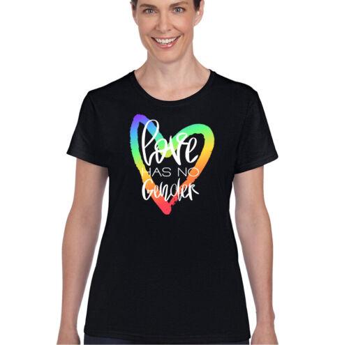 LGBT T-SHIRT Mens Love Has No Gender Pride Rainbow Colours Top Clothing Tee