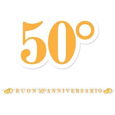 Auguri Anniversario Matrimonio 50 Anni.Festone Buon Anniversario 50 Anni Matrimonio Nozze D Oro 6 Mt