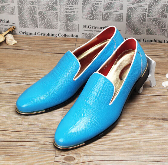 Mens Business Slip On Pointy Toe Loafers Dress Formal shoes bluee yellow Red New