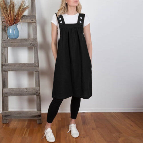Women Ladies Square Cross Cotton Work Pinafore Casual Loose Solid Dresses