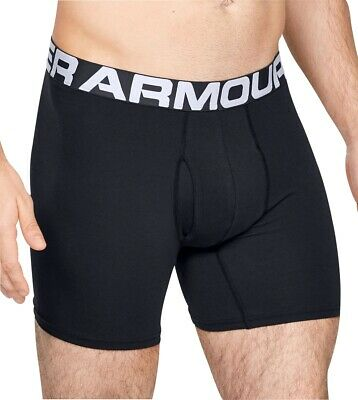 """Under Armour Men/'s Cotton Charged Tactical 6/"""" Boxer Jock Small Black"""