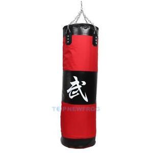 MMA-Boxen-Boxsack-Sandsack-Kickbag-Kung-Fu-ungefuellt-100cm-31cm-mit-Kette