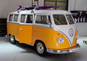 Vw bay surf board yellow surfing camper campervan welly 1 for 1963 vw samba t1 21 window split screen campervan