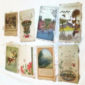 8-Vintage-Christmas-New-Year-Postcards-Cards-Poinsettias-Holly-Winter-Sleighing
