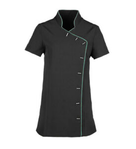 Black-with-piping-Tunic-Hairdresser-SPA-Nail-Salon-Therapist-Massaging-Uniform
