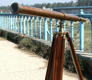 Marine-Nautical-39-034-Brass-Double-Barrel-Telescope-on-Wooden-Tripod-Stand-Sailor