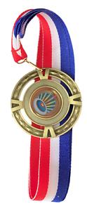 T Personnalisé Tir à l/'arc grande médaille d/'or /& ruban gravé Free