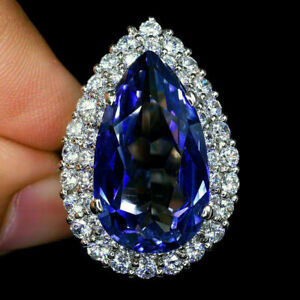 4-Ct-Pear-Tanzanite-Diamond-Cluster-Wedding-Engagement-Ring-14K-White-Gold-Over