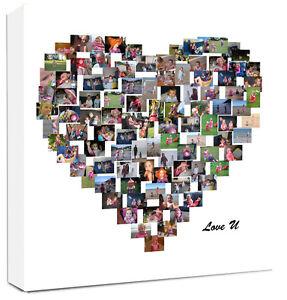 Personalised Heart Shape Photo Collage Canvas Ebay