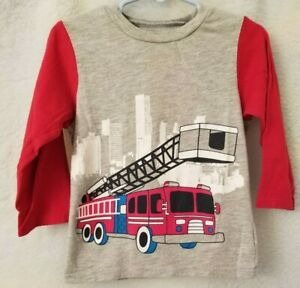 The-Children-039-s-Place-Boys-Gray-White-Red-Black-Fire-Truck-Design-Shirt-Size-3T