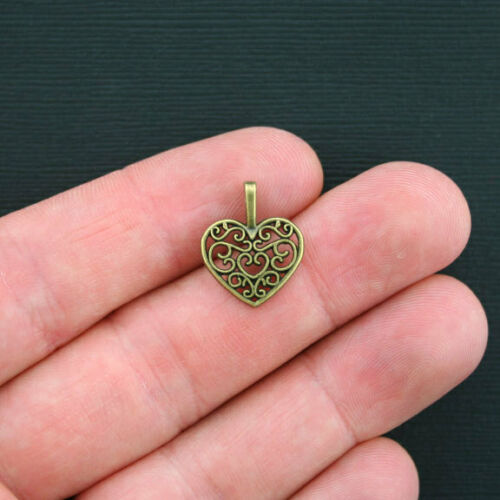 BC970 BULK 50 Heart Charms Antique Bronze Tone Classic Design